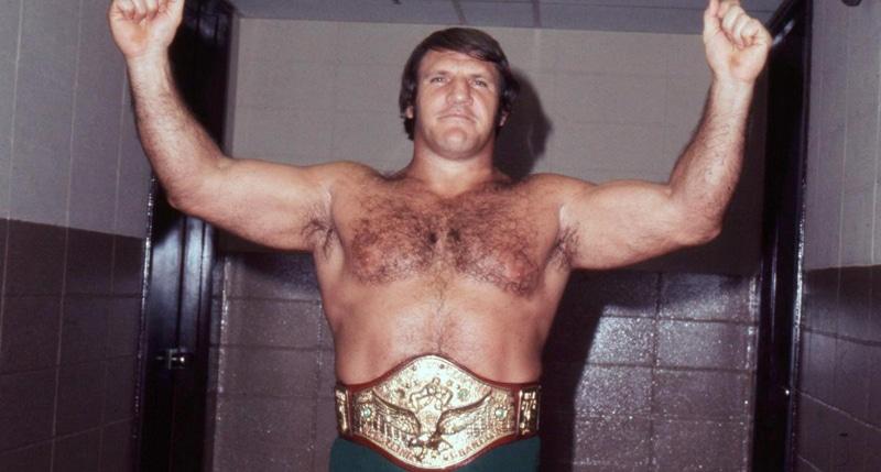 Bruno Sammartino posing with his title belt