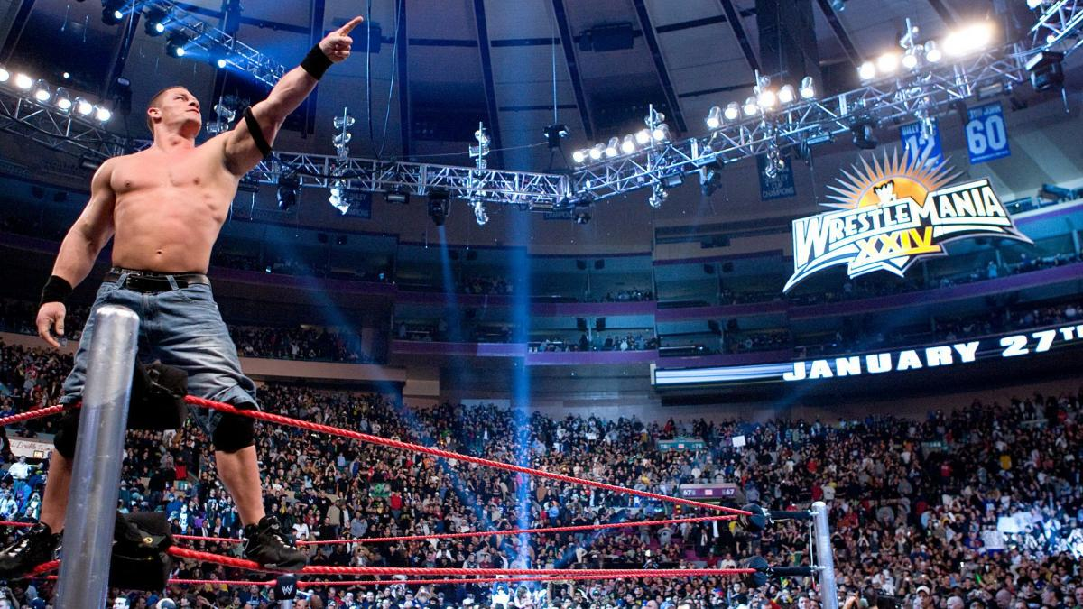 John Cena working the WWE crowd