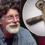 Rick Lagina and the lead cross on The Curse of Oak Island
