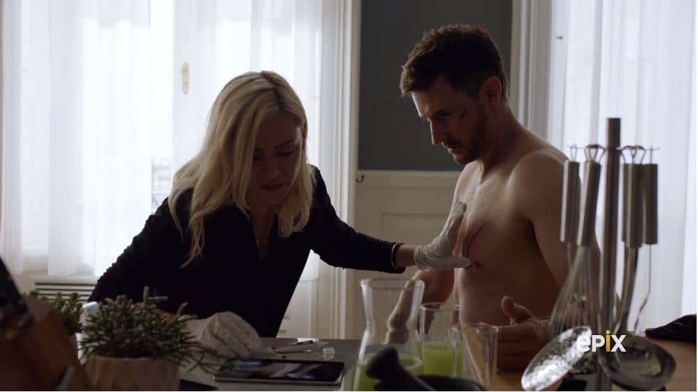 Culinary meat glue is used by Sofia to mend Daniel's deep cut. Pic credit: EPIX