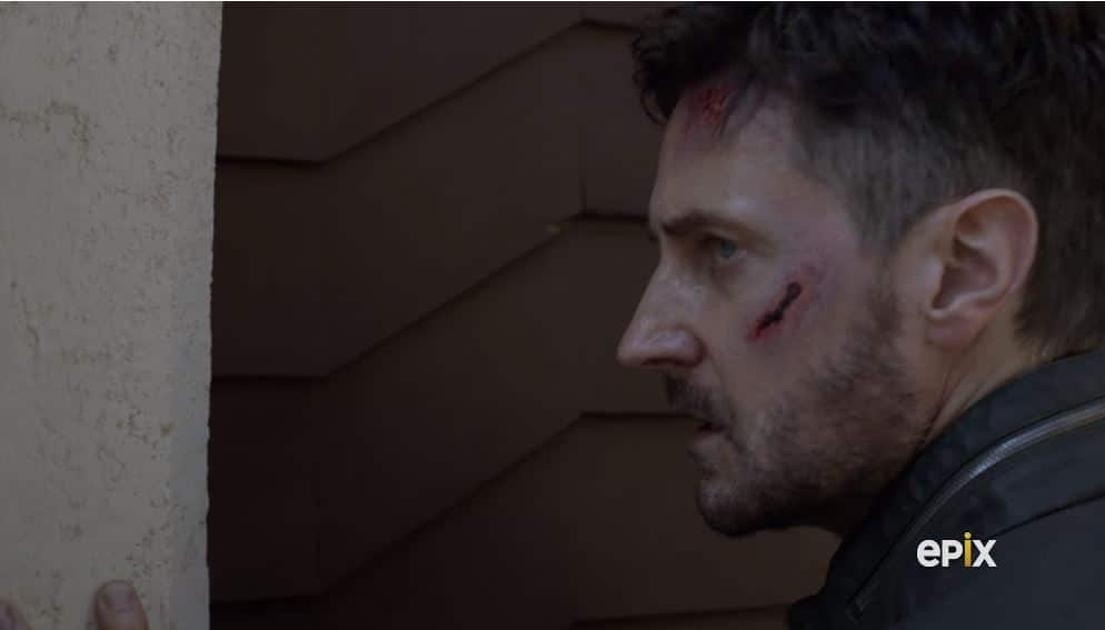 Daniel was beaten to a bloody pulp last week and makes it to Sofia's flat. Pic credit: EPIX