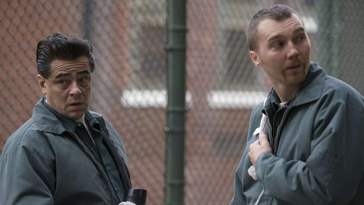 Richard Matt (Del Toro) and David Sweat (Paul Dano) plan their escape from Clinton Correctional Facility. Pic credit: Showtime