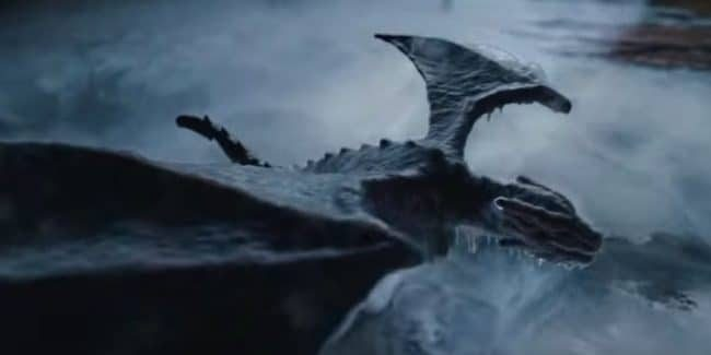 A dragon overtaken by ice in the Season 8 Game of Thrones teaser trailer