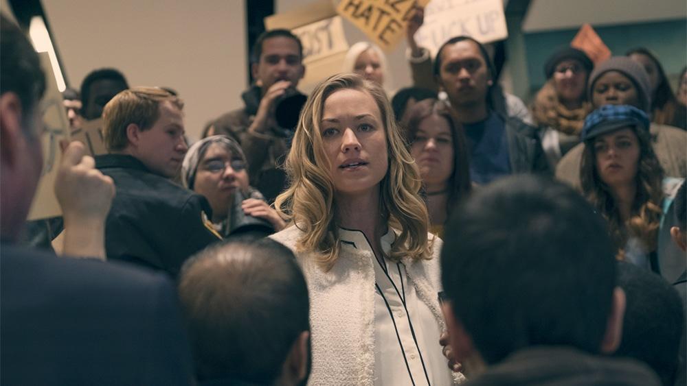 Serena Joy (Yvonne Strahovski), before the fall of the USA to Gilead. Pic credit: Hulu