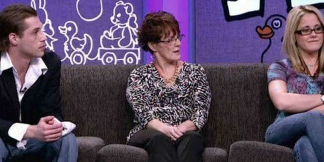 Andrew Lewis, Barb Evans, and Jenelle Evans at a Teen Mom 2 reunion