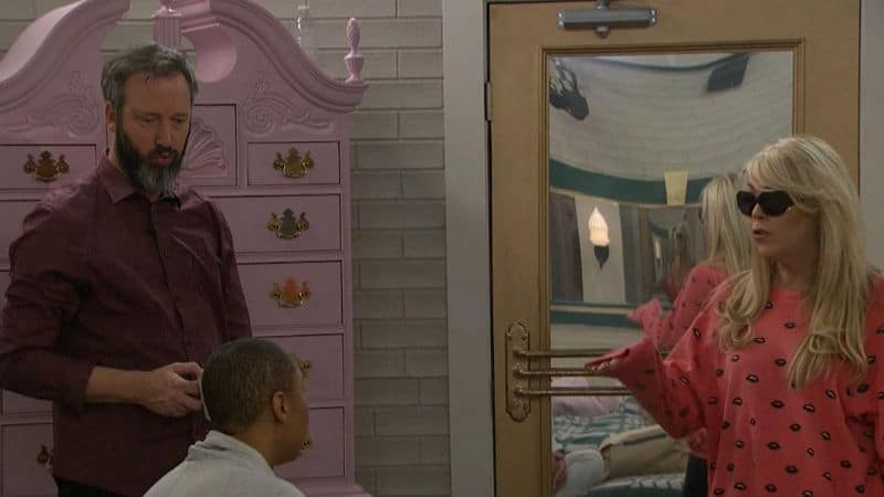 Tom Green, Tamar Braxton, and Dina Lohan chatting in the Celebrity Big Brother house