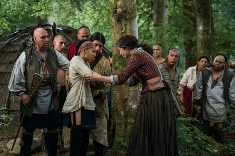 Claire tries to trade with the Mohawk, who then see her necklace