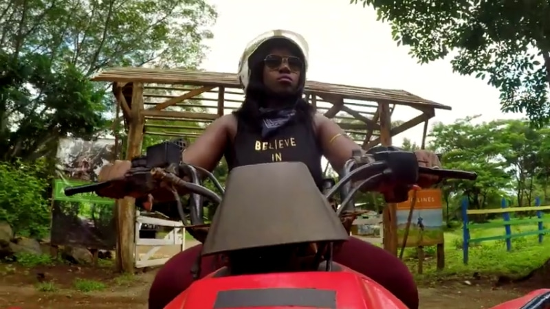 Jasmine McGriff rides an ATV through the Costa Rican rainforest on Married at First Sight