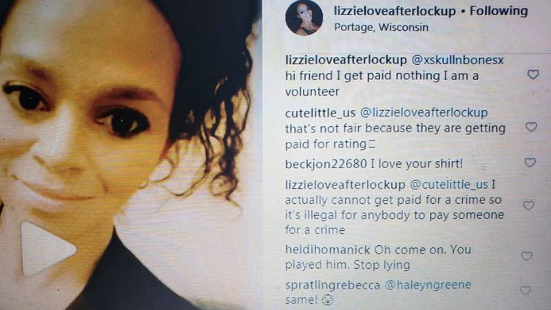 Screenshot of Lizzie's Instagram, where she confirms she is not paid for Love After Lockup