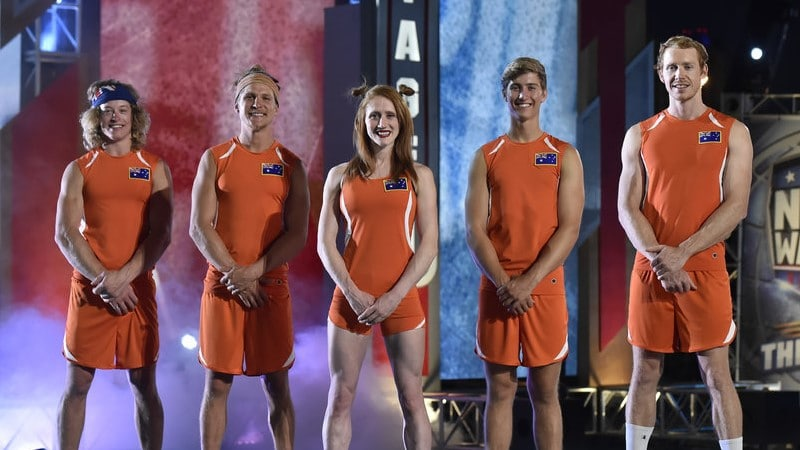 Team Australia on American Ninja Warrior: USA Vs. the World. (L-R) Team Australia: Ashlin Herbert, Jack Wilson, Olivia Vivian, Bryson Klein, Ben Polson.