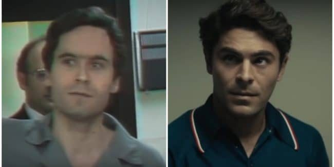 Zac Efron and Ted Bundy side by side