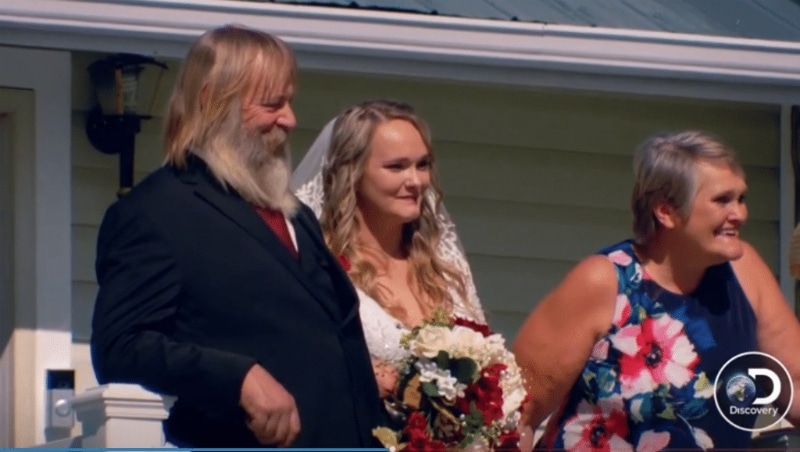 It's a Gold Rush wedding with Tony and Minnie Beets walking Monica down the aisle