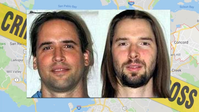Glenn Helzer and Justin Helzer seen in police mugshots.