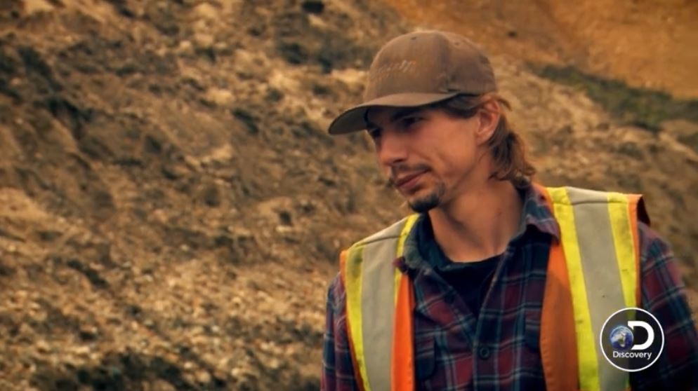 Parker Schnabel is considering Dean's ideas regarding gold filled gravel tonight. Pic credit: Discovery