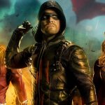 Grant Gustin as The Flash, Stephen Amell as the Green Arrow, and Melissa Benoist as Supergirl.