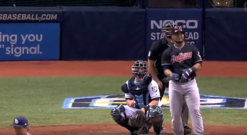 Edwin Encarnacion admires a home run for Cleveland Indians