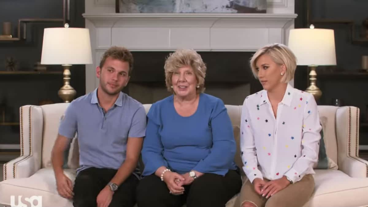 Chase, Nanny Faye, and Savannah Chrisley in a confessional on Chrisley Knows Best.