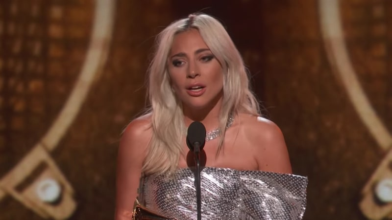 Lady Gaga accepting the Grammy for best pop duo