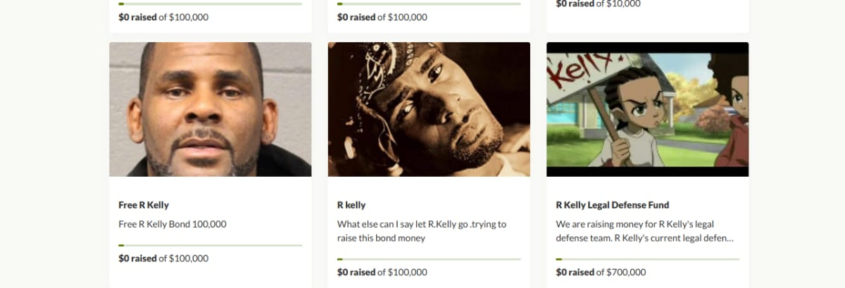 R. Kelly GoFundMe pages started to raise bail money for the singer
