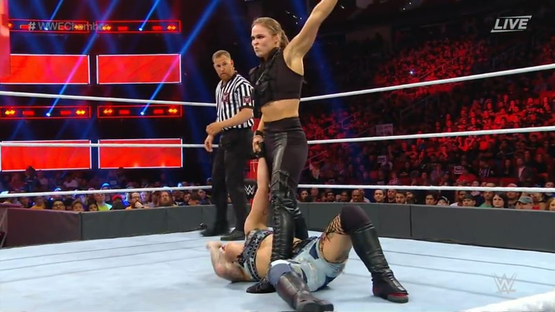 Ronda Rousey wears Sonya Blade inspired outfit at WWE Elimination Chamber