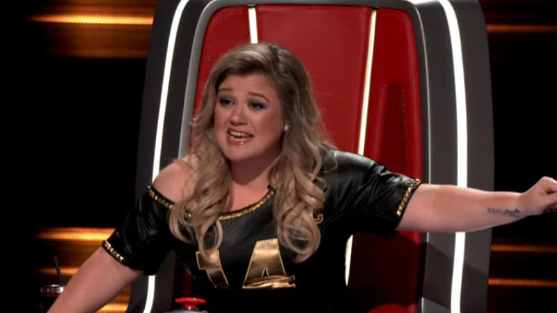 Kelly Clarkson on the set of The Voice