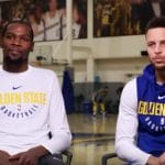 Kevin Durant and Stephen Curry with Golden State Warriors