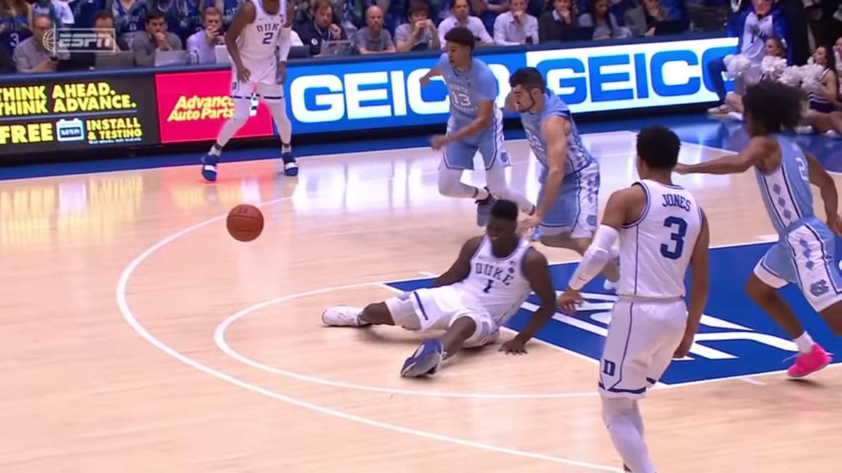 Zion Williamson injured in Duke vs North Carolina game