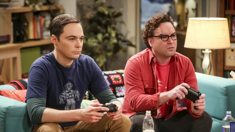 Sheldon Cooper (Jim Parsons) and Leonard Hofstadter (Johnny Galecki) earlier this season on The Big Bang Theory