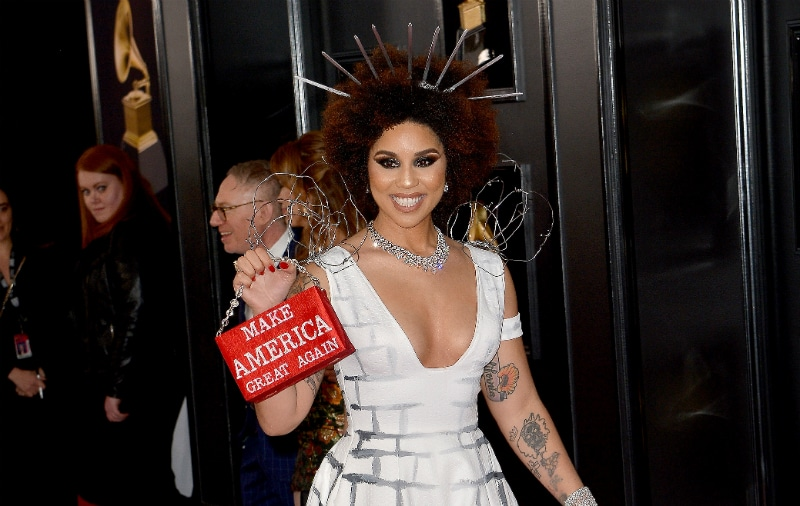 Joy Villa arrived at the 61st Annual Grammy Awards dressed as Donald Trump's wall complete with barbed wire shoulders and a MAGA purse