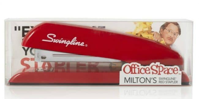 Office Space giveaway: 20th Century Fox and Swingline host Milton Red Swingline Stapler contest where you can win a lifetime supply of staples