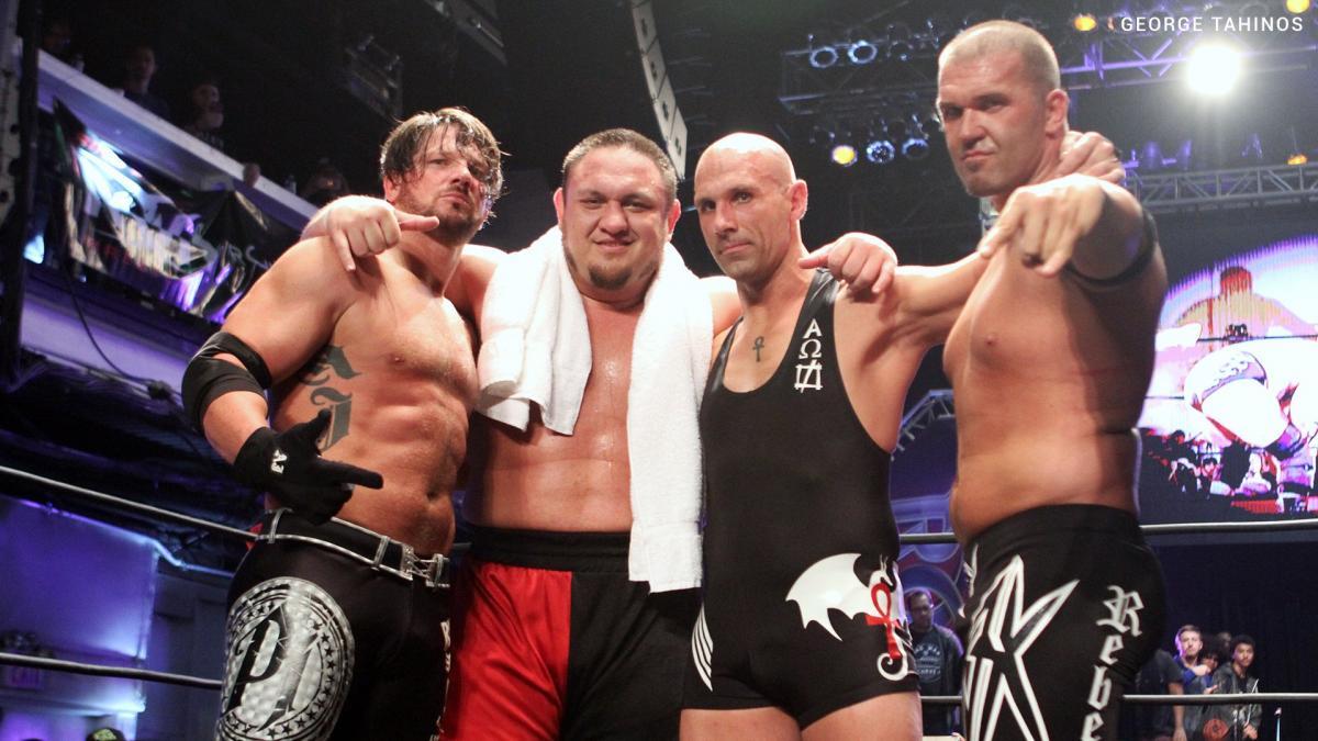 AJ Styles with Samoa Joe, Christopher Daniels and Frankie Kazarian