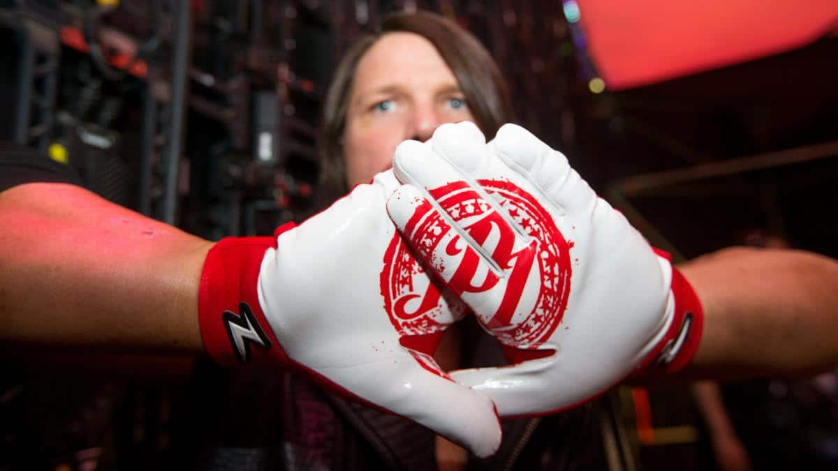 AJ Styles shows off his P1 gloves