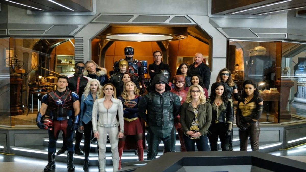 Characters from Arrow, The Flash, Supergirl, and Legends of Tomorrow