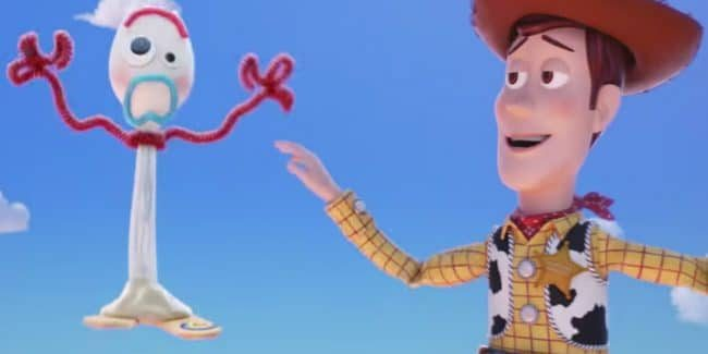 Forky the Spork and Woody in Toy Story 4