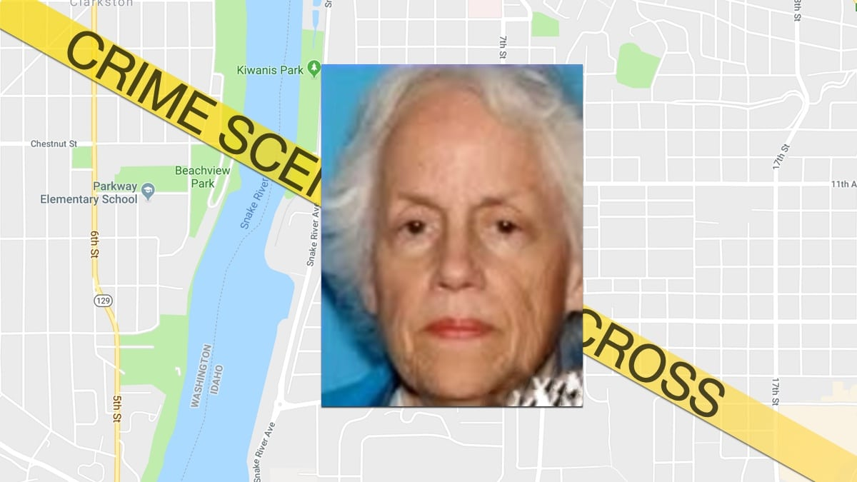Inna Richardson in a family photo over a map of the area her body was found