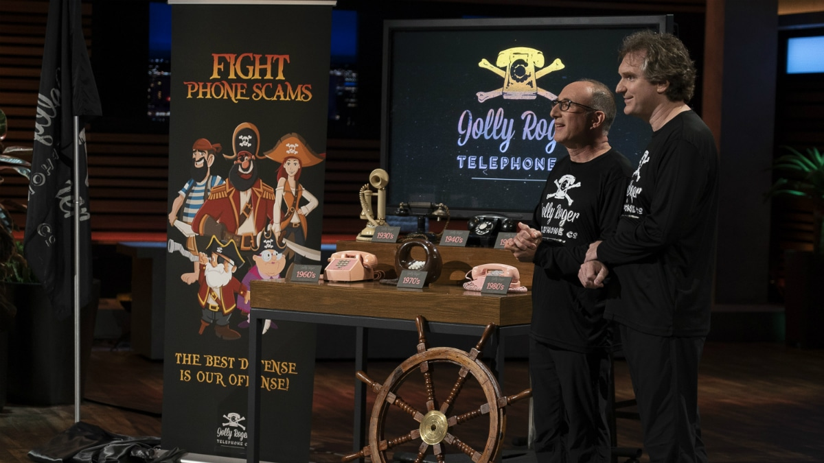 Stephen Berkson and Roger Anderson present their company, Jolly Roger Telephone on Shark Tank.