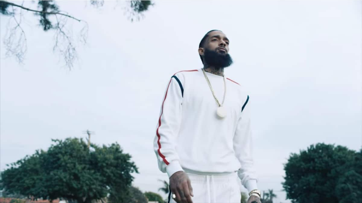 Nipsey Hussle in the music video for Racks in the Middle