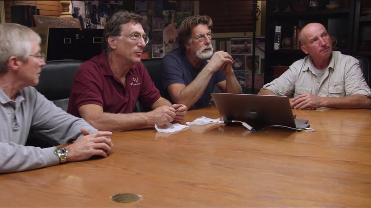 The Curse of Oak Island team meets with Tobias to learn about their discovery