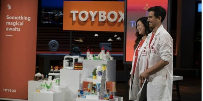 Jenn Chin and Ben Baltes present Toybox Labs on Shark Tank.