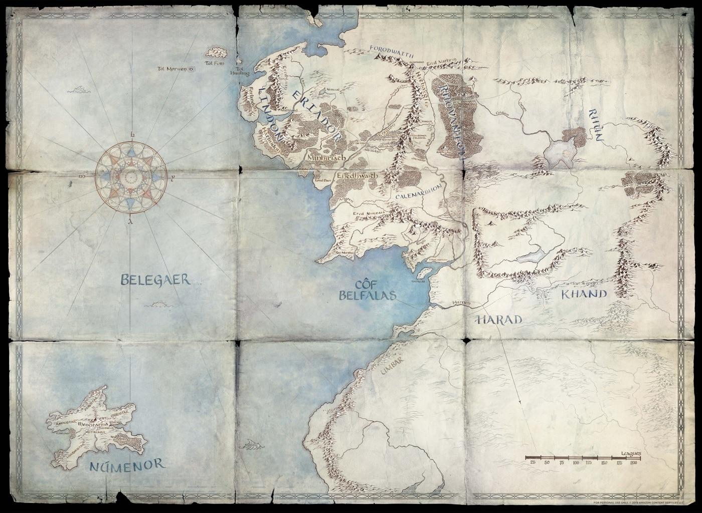 Amazon's map of Middle-earth and Numenor
