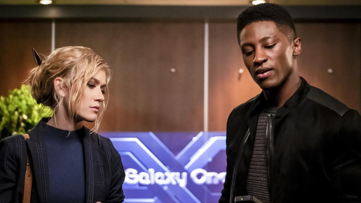 "Katherine McNamara as Mia Smoak and Joseph David Jones as Connor Hawke in the Arrow episode ""Star City 2040."""