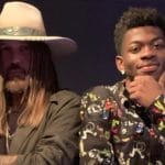 Billy Ray Cyrus and Lil Nas X pose together while making the remix of Old Town Road