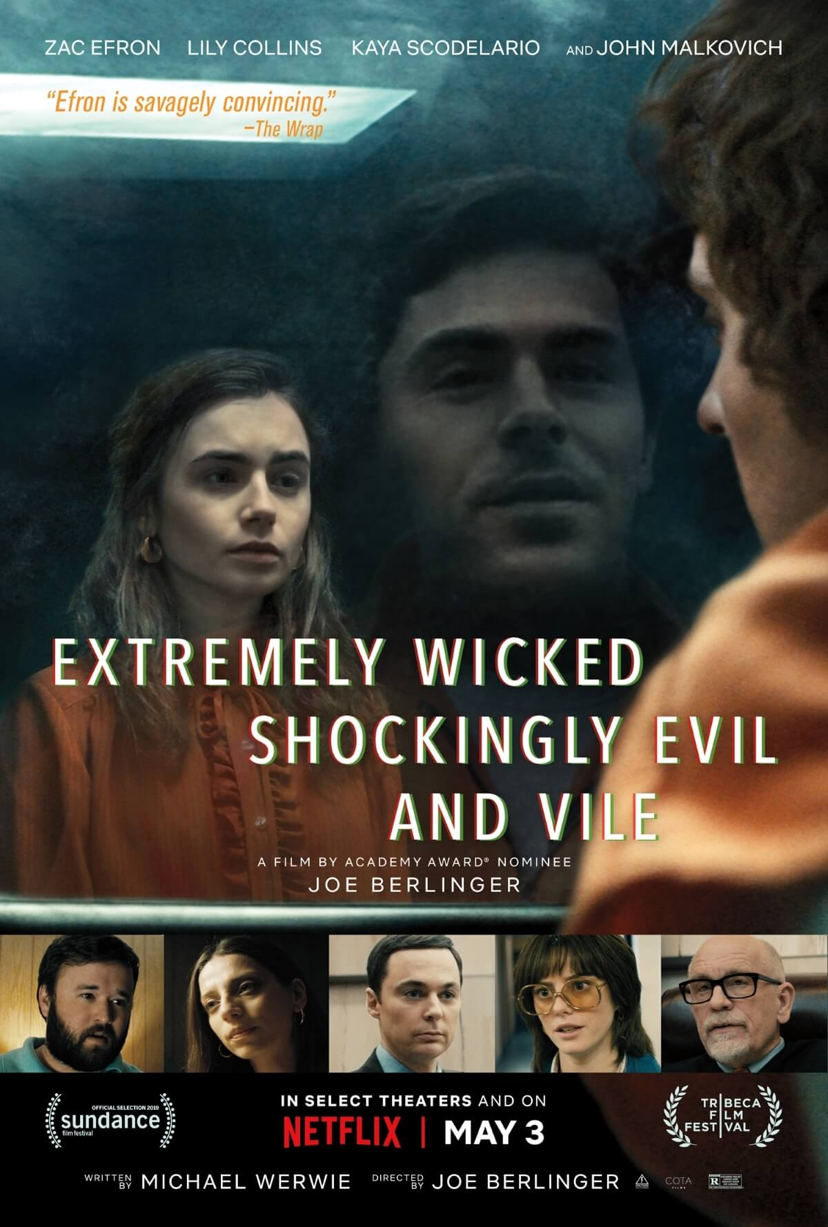 Movie poster for Netflix's Extremely Wicked, Shockingly Evil and Vile