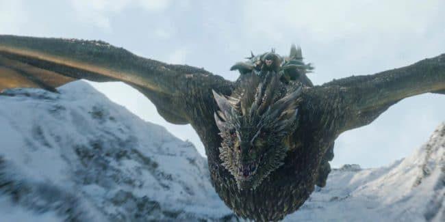 Jon Snow riding the dragon Rhaegal on Game of Thrones