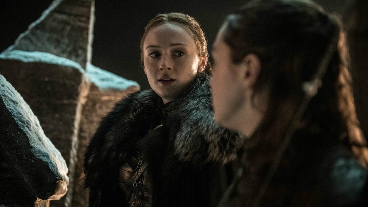 HBO's 'Game of Thrones,' Season 8, Episode 3. Sophie Turner as Sansa Star and Maisie Williams as Arya Stark