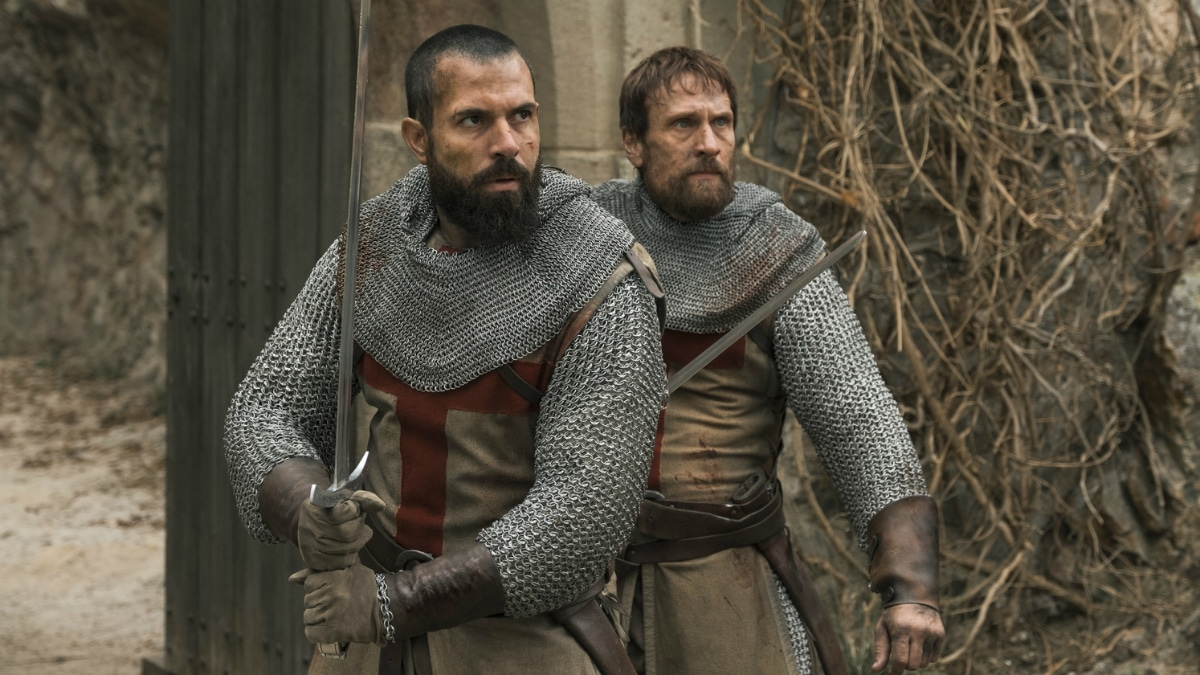 History Channel's 'Knightfall' Season 2, Episode 5, Road To Chartres, Tom Cullen as Landry and Simon Merrells as Tancrede