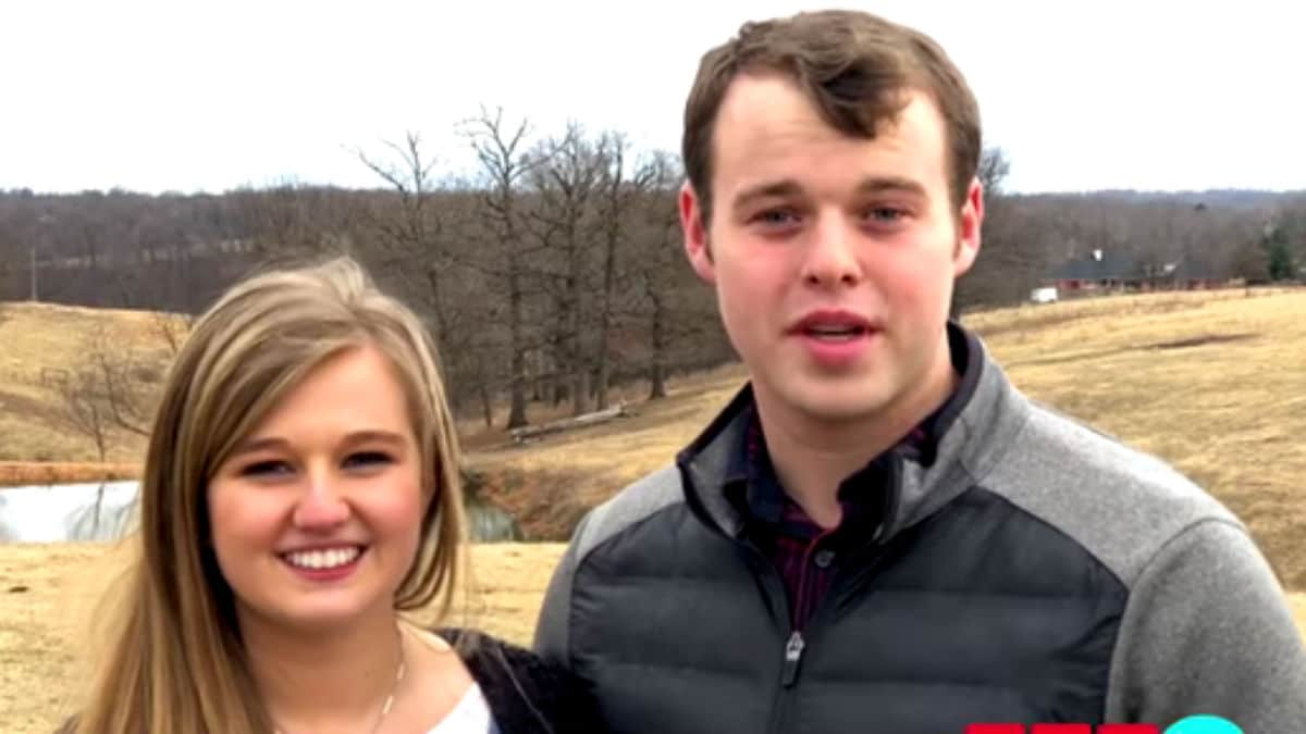 Kendra and Joseph Duggar during an outdoor confessional with their first gender reveal