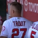 Mike Trout celebrates home run for Los Angeles Angels