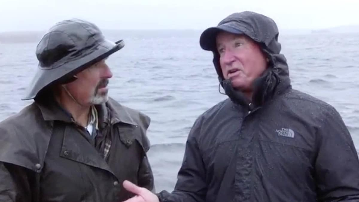 Tony and Gary discussing one of the methods that could be used on The Curse of Oak Island Season 7