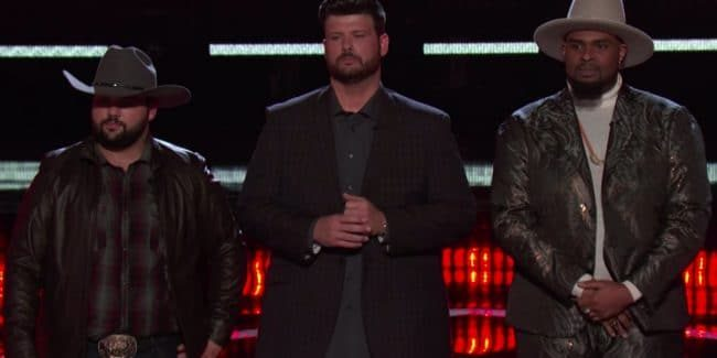 Andrew Sevener, Rod Stokes, and Shawn Sounds wait for the results of the Instant Vote on The Voice.